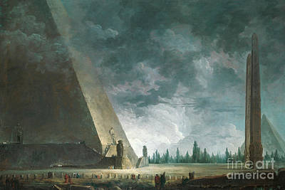 Shrouded Painting - Fantaisie Egyptienne by Hubert Robert
