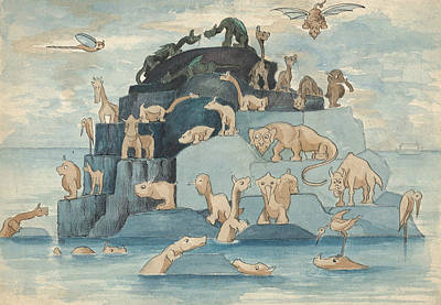 Ark Drawing - Fantastic Animals Left Off The Ark by Herbert Crowley