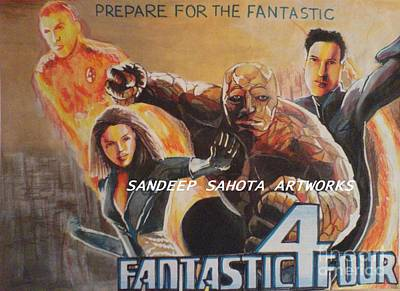 Jessica Alba Painting - Fantastic Four  by Sandeep Kumar Sahota