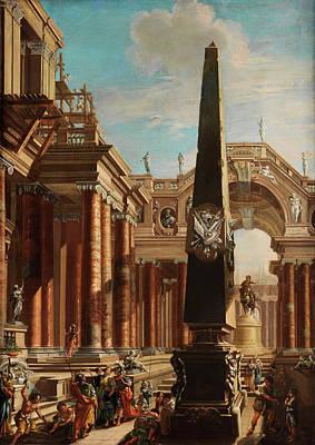 Architektur Painting - Fantastic Roman Architektur Capriccio With Scene From The Life Of Cleopatra by Antonio Joli