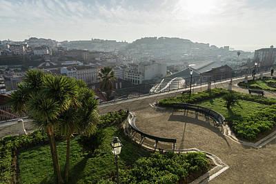 Photograph - Fantastic Viewing Terrace - Soft Mist And Sunshine Over Lisbon Portugal by Georgia Mizuleva