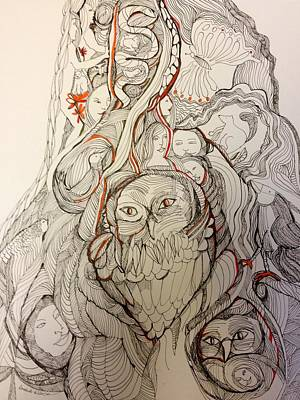 Wall Art - Drawing - Fantastical Tree Trunk by Rosalinde Reece