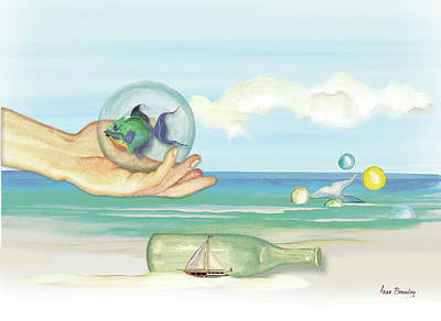 Painting - Fantasy At The Beach by Anne Beverley-Stamps