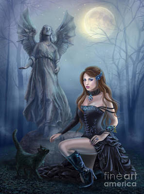 Fantasy Beautiful Woman With Black Cat About A Statue. Wood At Night. Gothic Style Art Print by Alena Lazareva