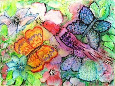 Painting - Fantasy Butterfly Garden by Hazel Holland