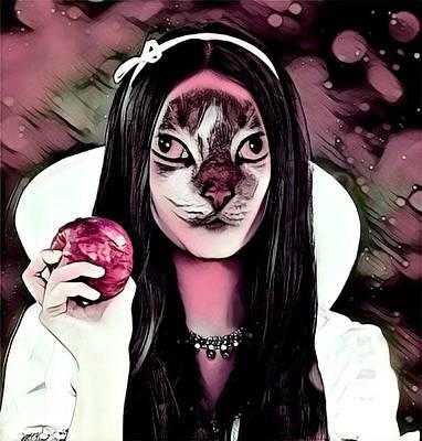 Cabochon Digital Art - Fantasy Cat Art 18 by Belinda Cox