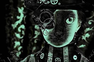 Cabochon Digital Art - Fantasy Cat Art 6 by Artful Oasis