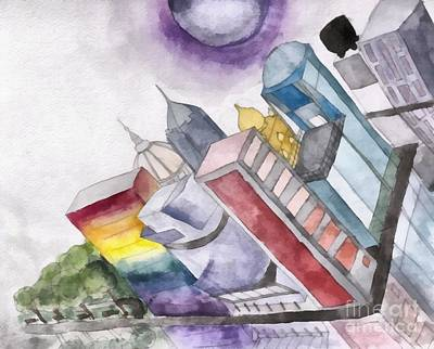 Colorful Drawing - Fantasy City Watercolor by Edward Fielding