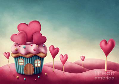 Cupcake Love Digital Art - Fantasy Cup Cake House  by Elena Schweitzer