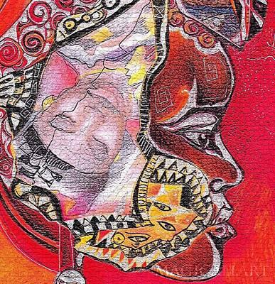 Drawing - Fantasy Face by Bernadett Bagyinka