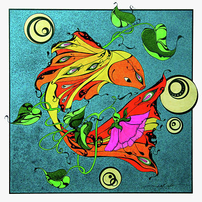 Drawing - Fantasy Fish by Michele Sleight