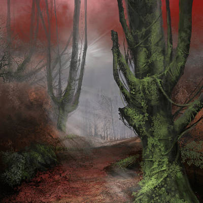 Surrealism Digital Art - Fantasy Forest by Bekim M