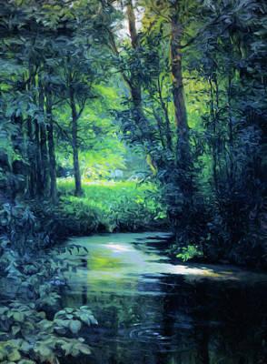 Fantasy Mixed Media - Fantasy Forest In Green And Blue by Georgiana Romanovna
