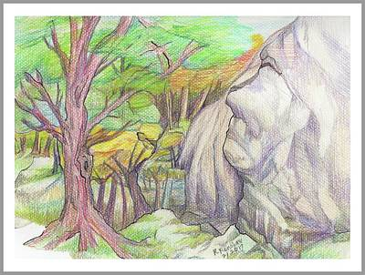 Drawing - Fantasy Forest Rock by Ruth Renshaw