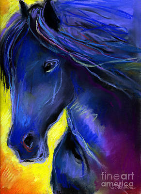 Horse Drawings Painting - Fantasy Friesian Horse Painting Print by Svetlana Novikova