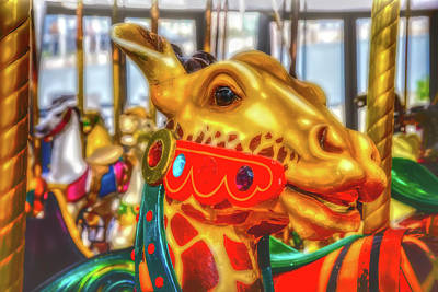 Fanciful Photograph - Fantasy Giraffe Carrousel Ride by Garry Gay