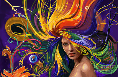 Lady Painting - Fantasy Girl Color Hair by Tim Gilliland