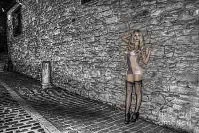 Photograph - Fantasy Girl On Cobbled Street by Colin Munro