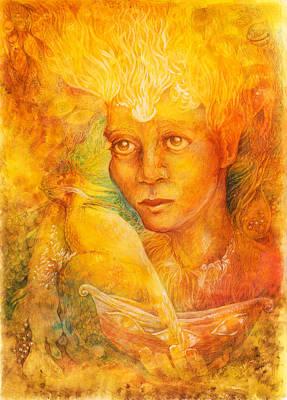 Fantasy Golden Light Fairy Spirit With Two Phoenix Birds  Art Print