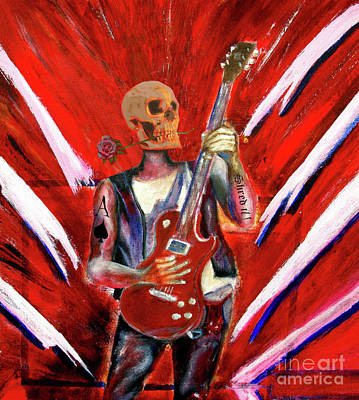 Fantasy Heavy Metal Skull Guitarist Art Print by Tom Conway