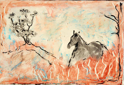 Encaustic Horse Painting - Fantasy Horse by JOANNE McCubrey