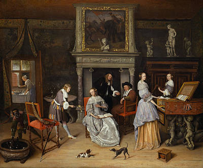 Steen Painting - Fantasy Interior With Jan Steen And The Family Of Gerrit Schoute by Jan Steen