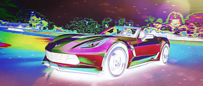 Digital Art - Fantasy Land Chevrolet Corvette 2018 Pop Art by Maciek Froncisz