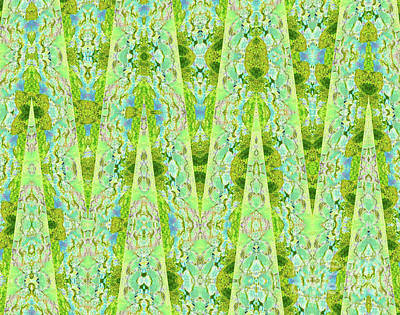Sweetly Digital Art - Fantasy Lime Forest Tapestry by Ann Johndro-Collins