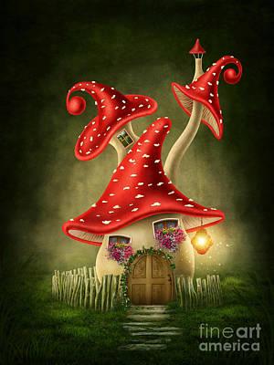 Fungi Digital Art - Fantasy Mushroom House by   Elena Schweitzer