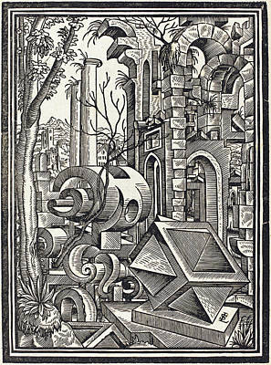 Drawing - Fantasy Of Perspectival Forms Set Among Ruins by Lorenz Stor