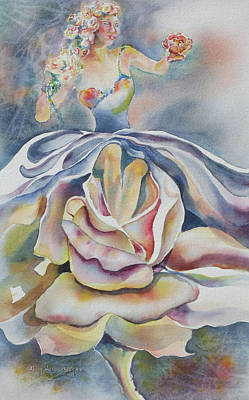 Art Print featuring the painting Fantasy Rose by Mary Haley-Rocks