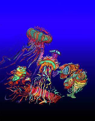 Painting - Fantasy Sea Life1 by Martin Hardy