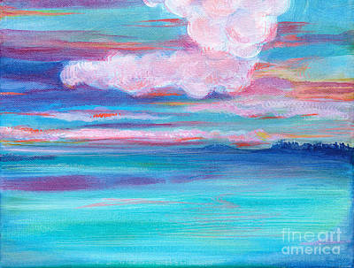 Painting - Fantasy Seascape Afterglow Sky by Expressionistart studio Priscilla Batzell