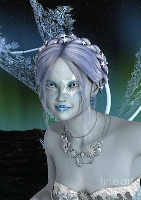 Digital Art - Fantasy Snow Fairy by Design Windmill