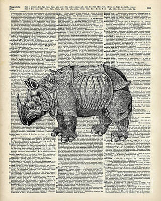 Nature Abstract Drawing - Fantasy Steampunk Rhinoceros by Jacob Kuch