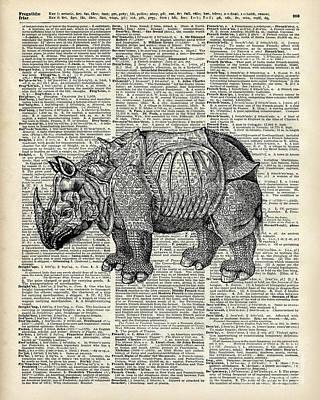 Illustration Drawing - Fantasy Steampunk Rhinoceros by Jacob Kuch
