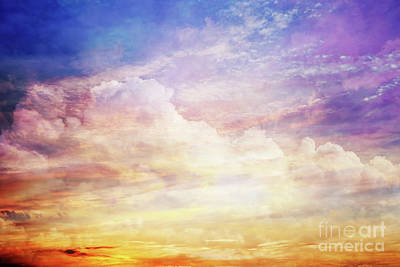 Background Photograph - Fantasy Sunset Sky With Amazing Clouds And Sun Light by Michal Bednarek