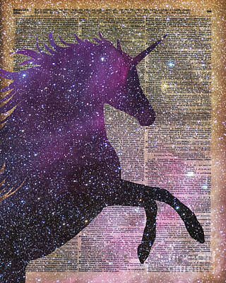 Fantasy Unicorn In The Space Art Print by Jacob Kuch