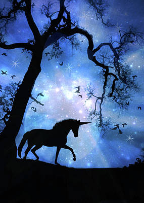 Black Unicorn Photograph - Fantasy Unicorn by Stephanie Laird