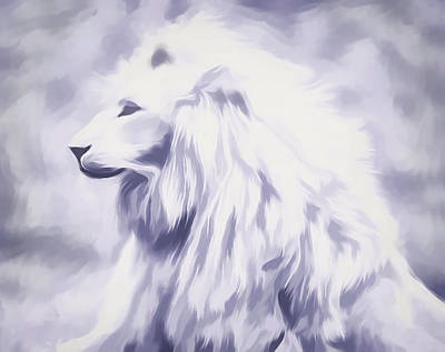 Digital Art - Fantasy White Lion by Barbara A Lane