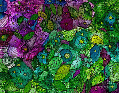 Painting - Fantasy Zen Flowers In Alcohol Ink by Conni Schaftenaar