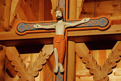 Photograph - Fantoft Stavkirke Crucifix by KG Thienemann