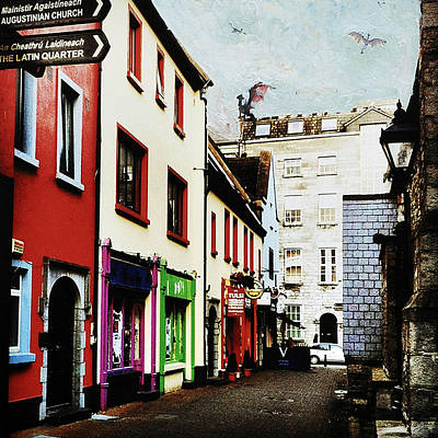 Port Town Mixed Media - Far Away In Galway by Leonid Rozenberg