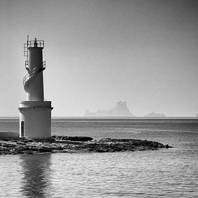 Monochrome Photograph - Far De La Savina Lighthouse, Formentera by John Edwards