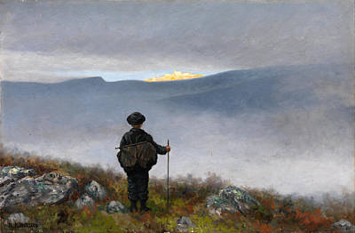 Moria Painting - Far Far Away Soria Moria Palace Shimmered Like Gold by Theodor Kittelsen
