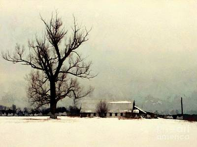 Photograph - Far From Home - Winter Barn by Janine Riley