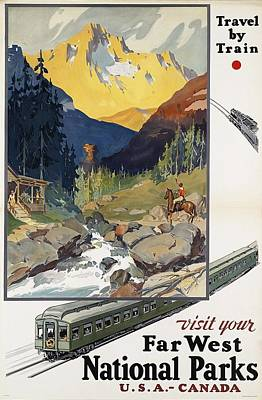 Painting - Far West National Parks - Vintage Travel Poster by Studio Grafiikka