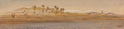 Drawing - Faras Westbank by Edward Lear