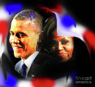 Farewell Barack And Michelle Obama Print by Cheryl Riley