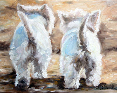 Westie Dog Painting - Farewell by Mary Sparrow